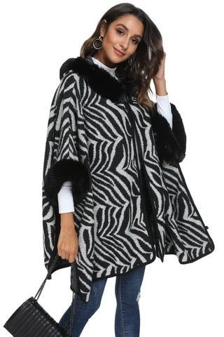 Zebra hooded faux fur cape with armholes