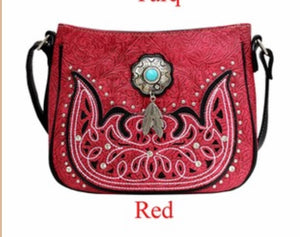 Red messenger with turquoise stone metal feathers