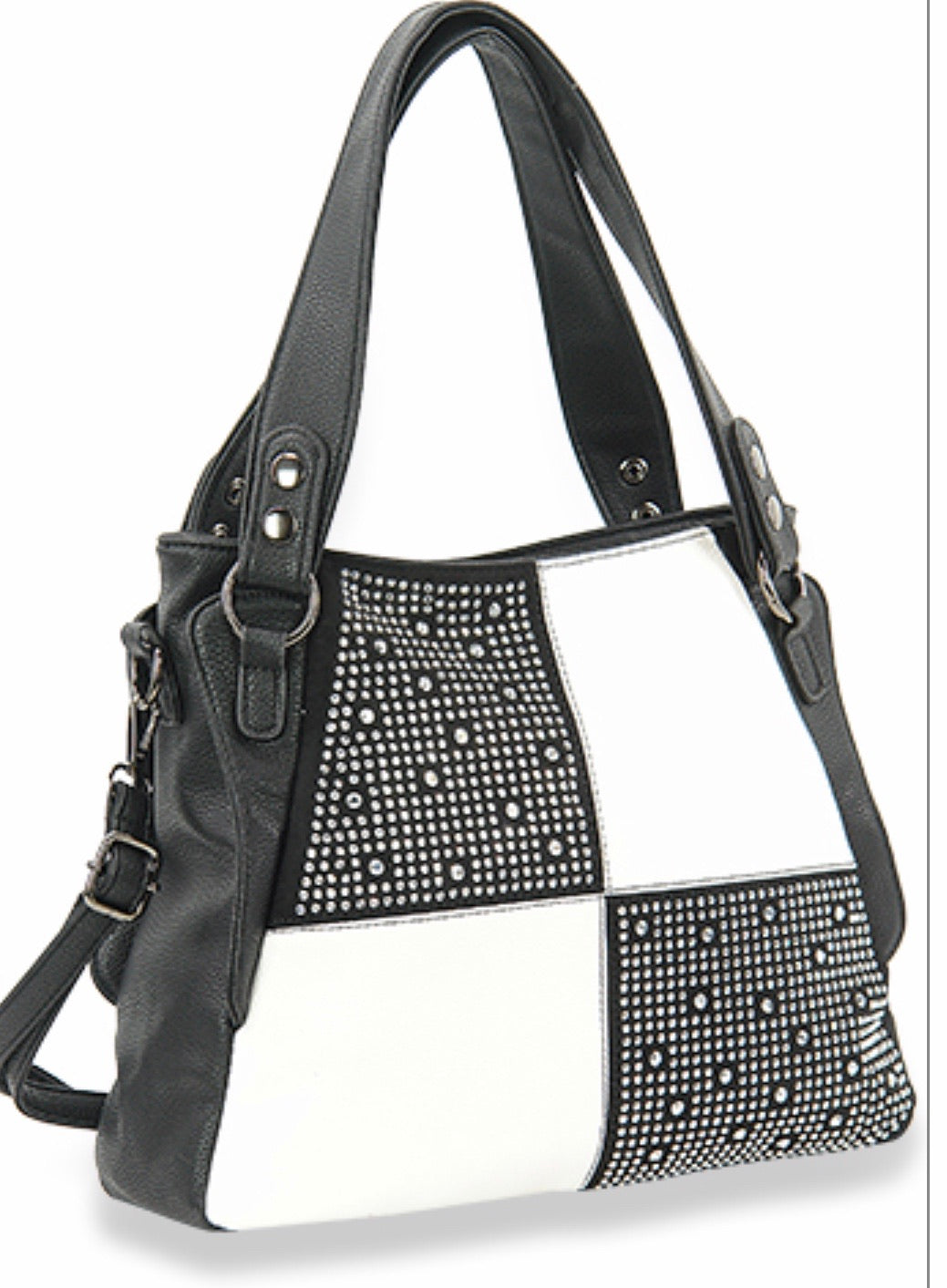 Black & White colour block bling handbag