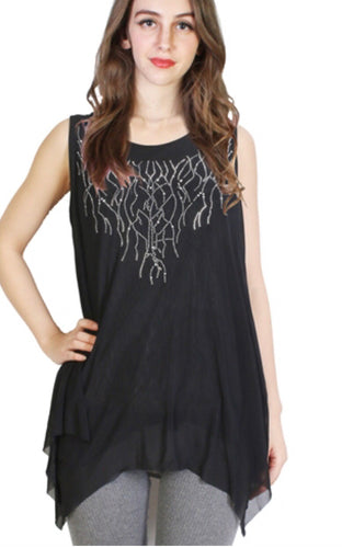 Black sparkle top with branch design