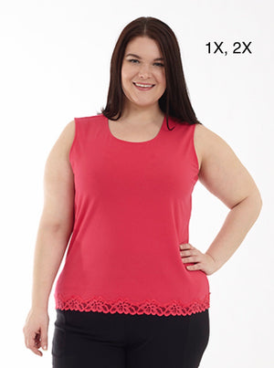 Hot pink tank with lace bottom