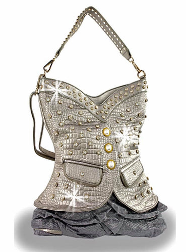 Pewter corset vest purse
