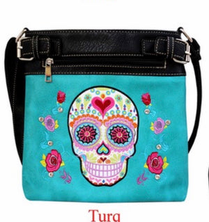 Turquoise sugar skull messenger with heart