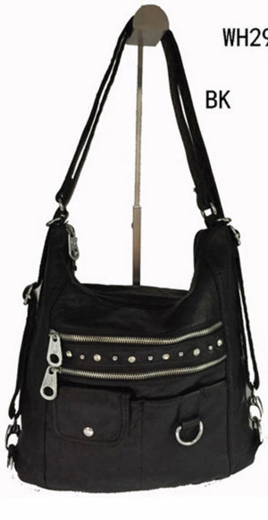 Black bling 3 in 1 with one front snap pouch