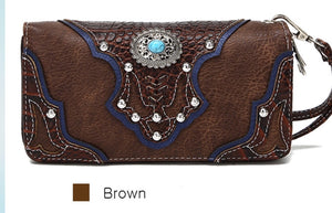 Brown western wallet to match tassel purse