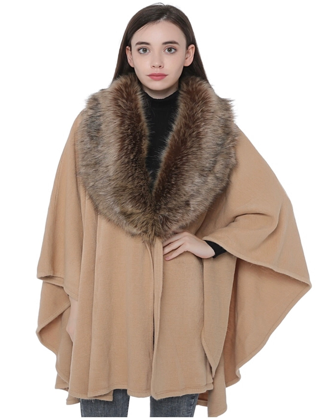 Brown CB Cape With Faux Fur Neck