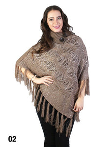 Brown Shawl Collar Bling Poncho