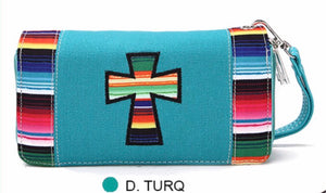 Turquoise cross cloth wallet with Navajo