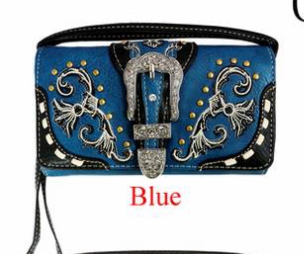 Blue wallet with buckle and crossbody strap