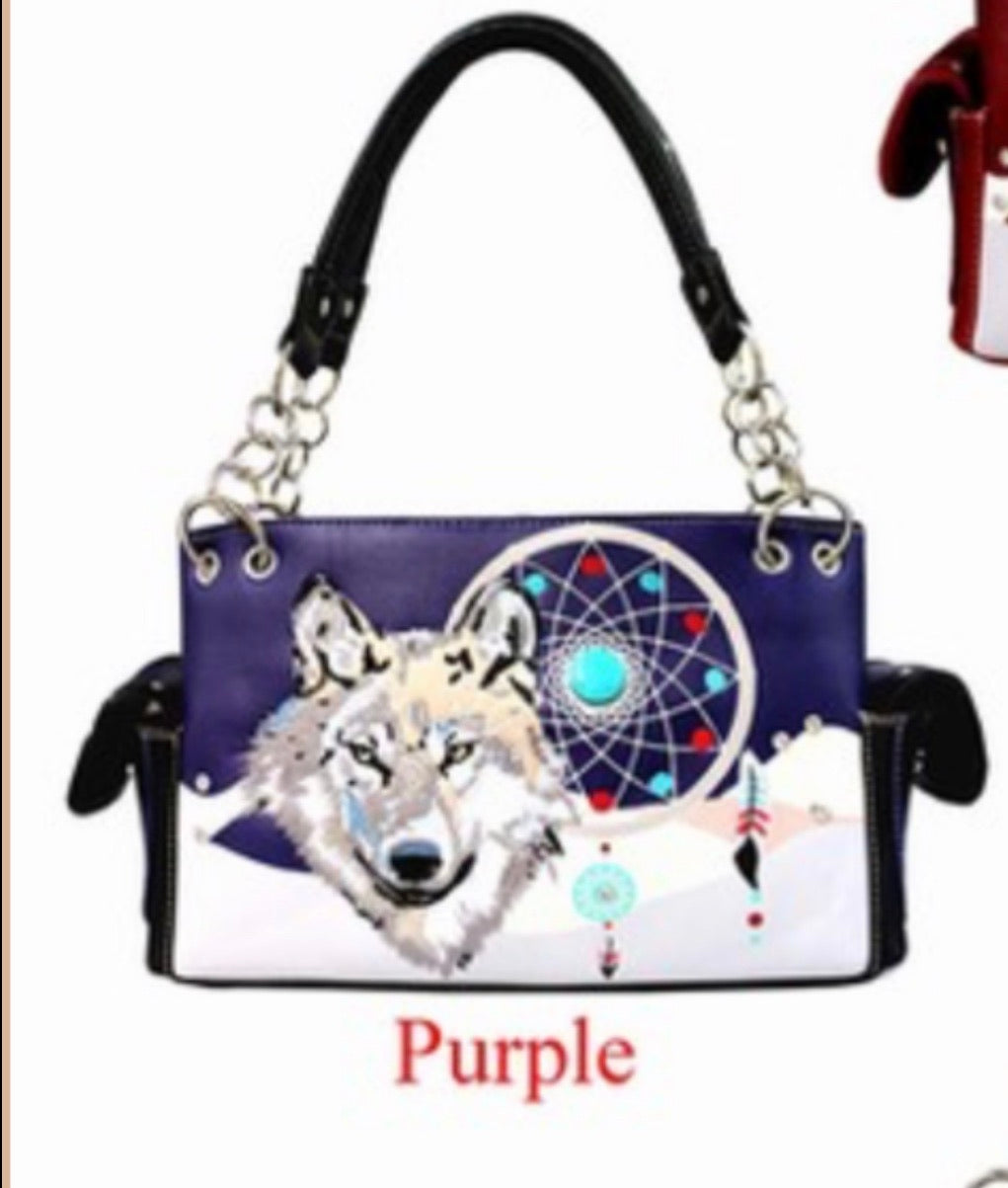 Purple wolf dreamcatcher purse with chain