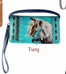 Turquoise horse wallet with crossbody strap