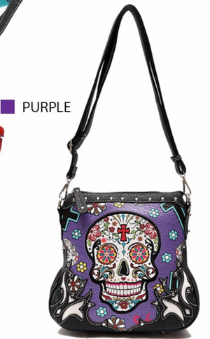 Purple sugar skull messenger with cross