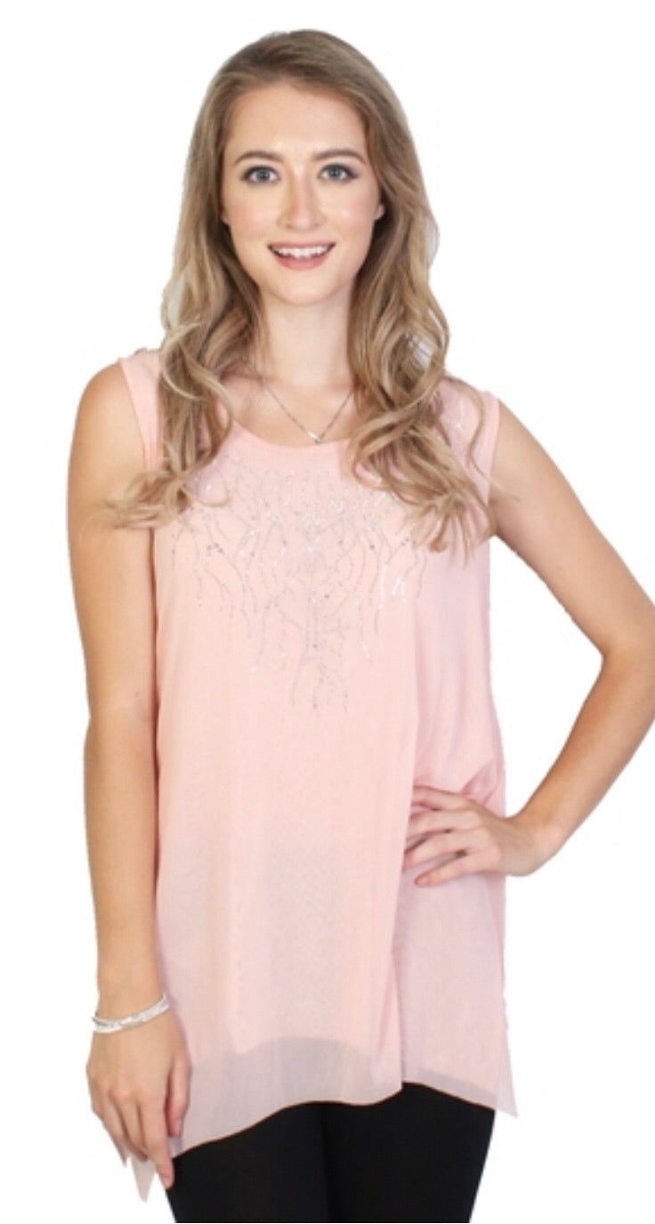 Peach sparkle top with branch design
