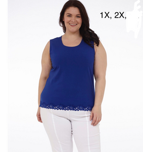 Royal blue tank with lace bottom