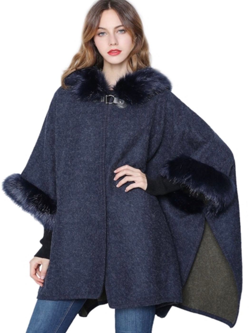 Navy hooded faux fur cape with armholes
