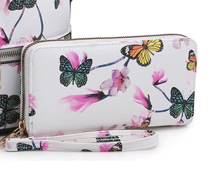 White FW wallet with butterflies & flowers
