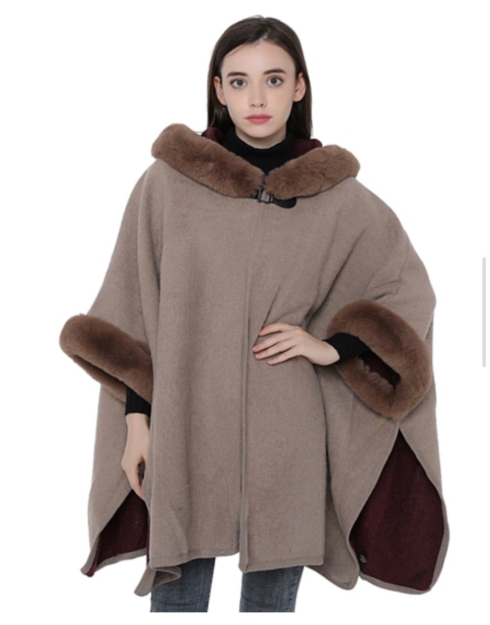 Brown hooded faux fur cape with armholes