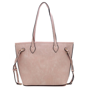 Blush pink FW tote with wristlet clutch