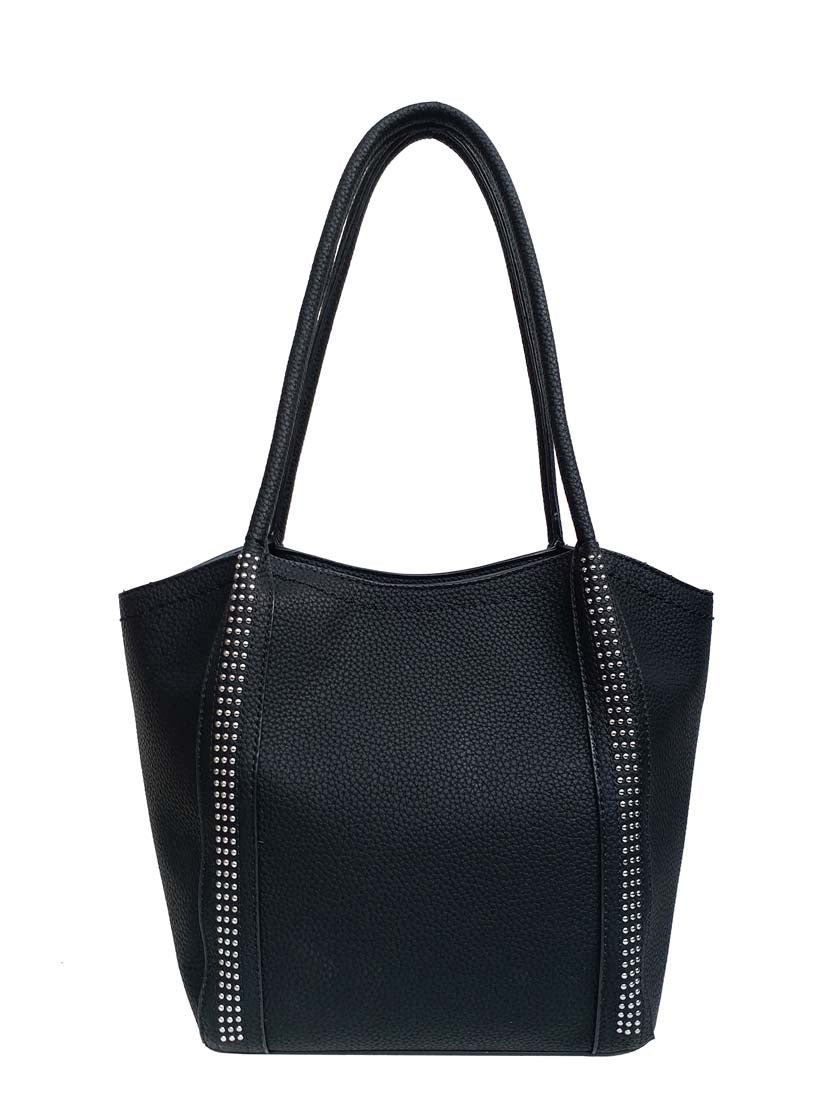 Black pass tote with stud detail