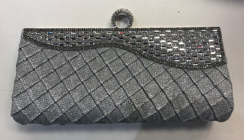 Clutch bling with ring attached silver 2007