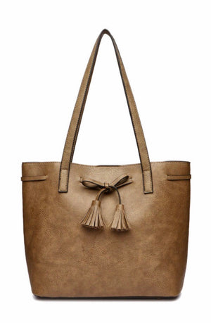 Brown drawstring tote