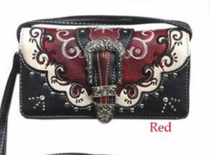 Red swirl buckle wallet with crossbody strap