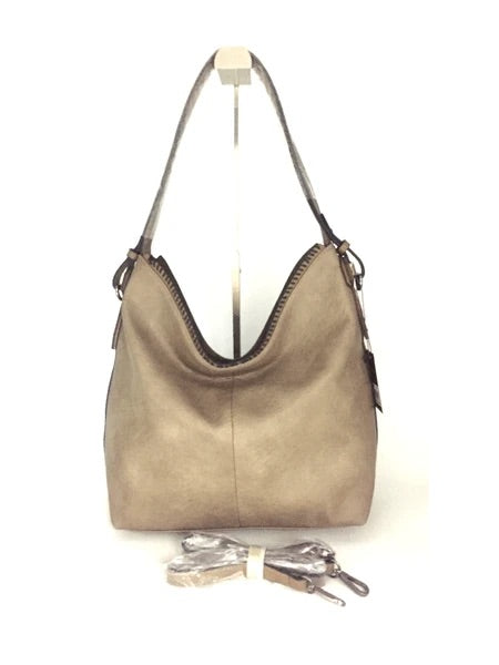 Taupe ALP purse with long strap