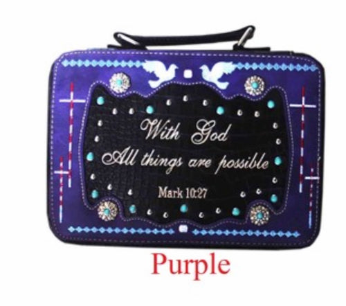 Purple bible cover Mark 10:27