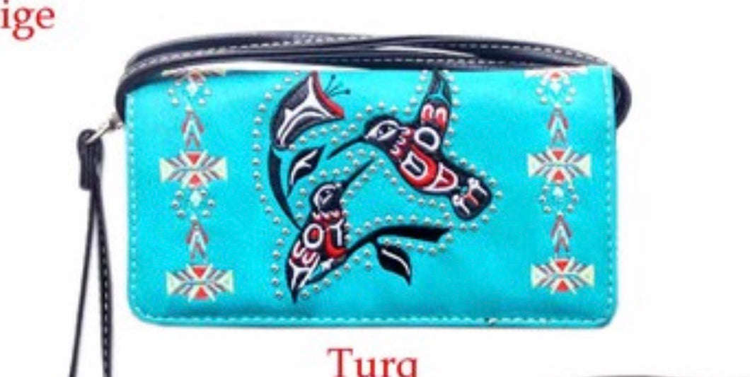 Turquoise hummingbird wallet with crossbody strap