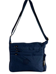 Blue fabric messenger with zipper front