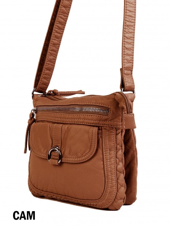 Brown soft multi pocket messenger