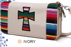 Ivory cross cloth wallet with Navajo