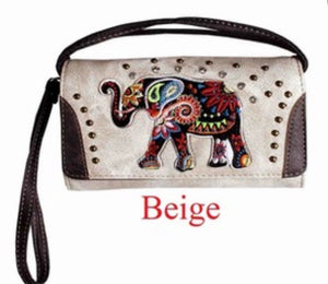 Beige elephant wallet with wristlet and crossbody strap