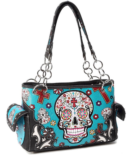 Teal sugar skull purse