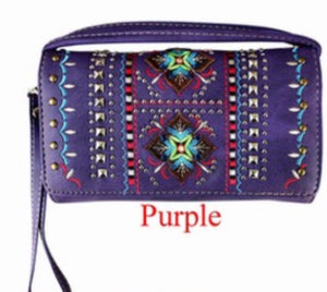Purple indigenous flower wallet with wristlet and crossbody strap
