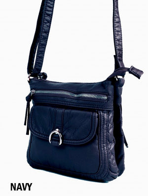 Navy soft multi pocket messenger
