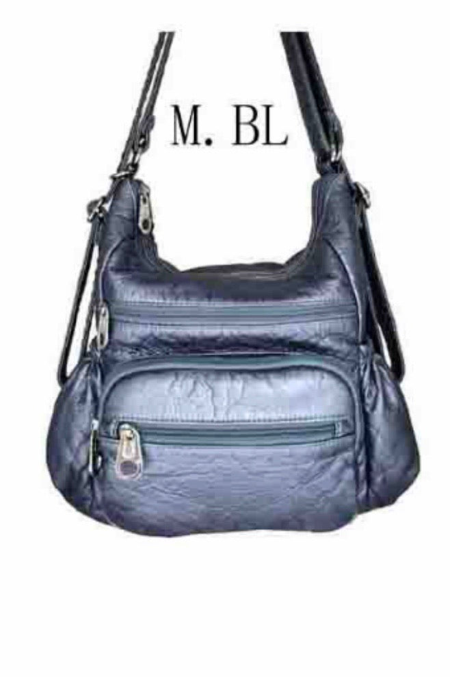 Metallic Blue 3 in 1 with zip front pouch and elastic pocket sides