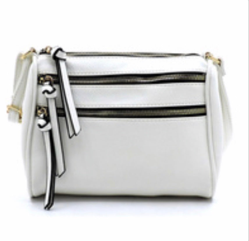 White shorter style 2 zipper messenger