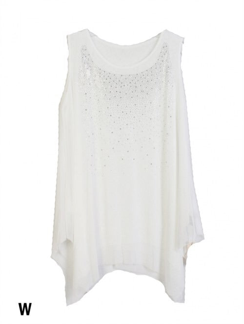 White sparkle top with star design