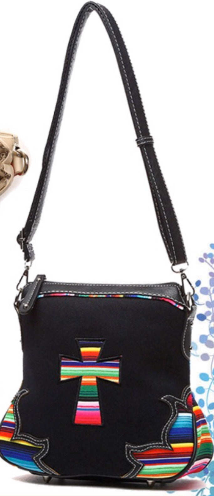 Black cross cloth messenger with Navajo