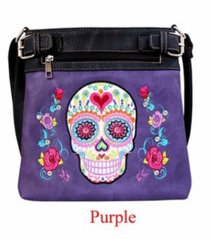 Purple sugar skull messenger with heart