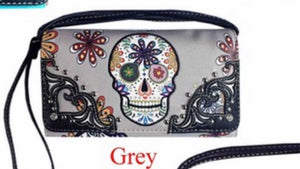 Grey sugar skull wallet with flower