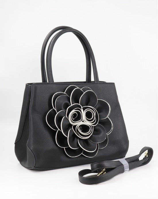 Black flower tote