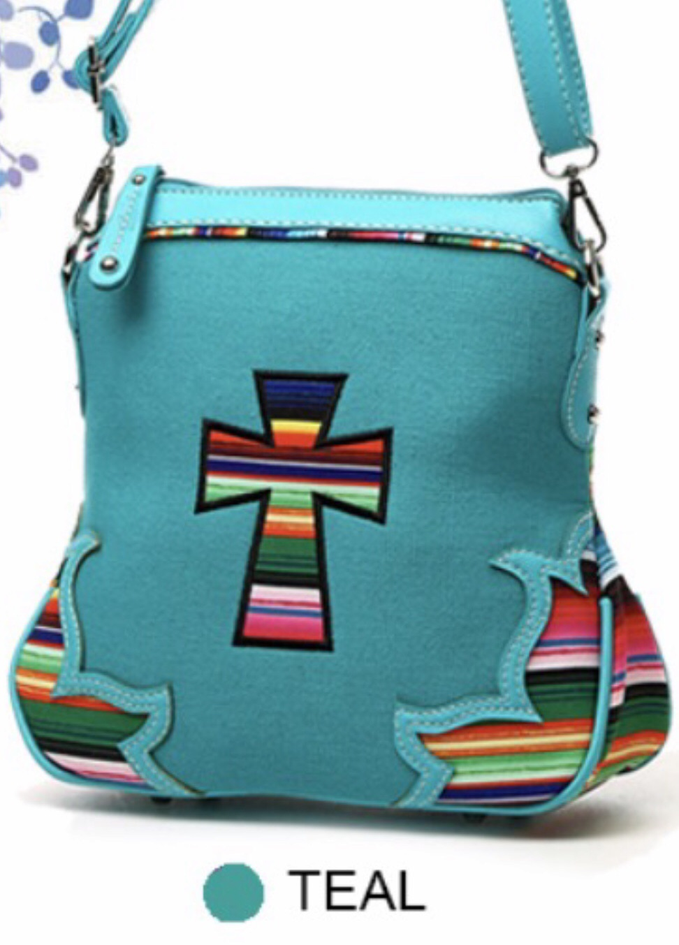 Turquoise cross cloth messenger with Navajo