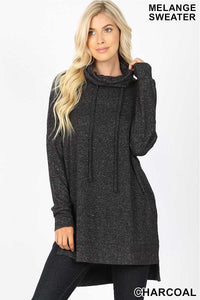 Charcoal funnel neck sweater MC