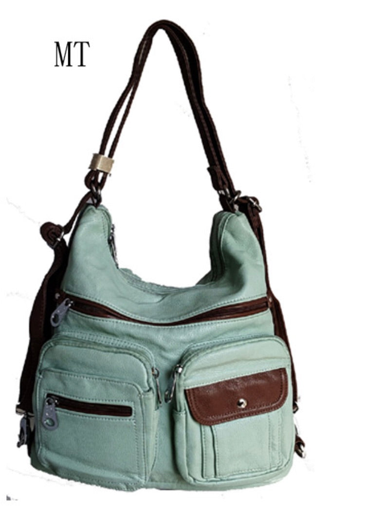 Mint with brown trim 3 in 1 style backpack purse