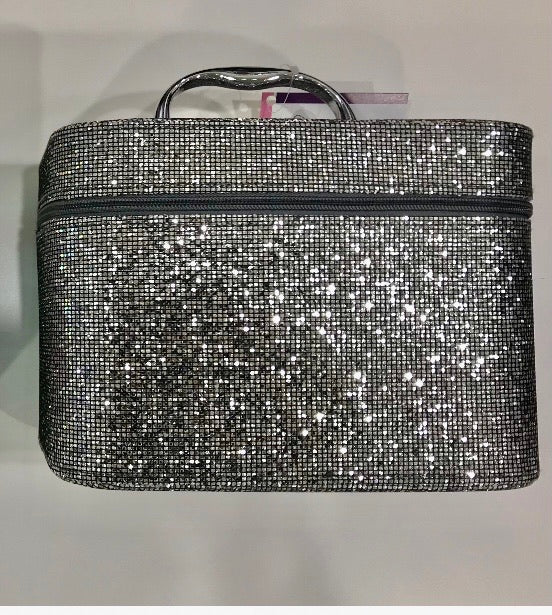 Larger Silver Bling cosmetic carry case