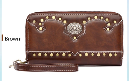 Brown western wallet matching 2pc