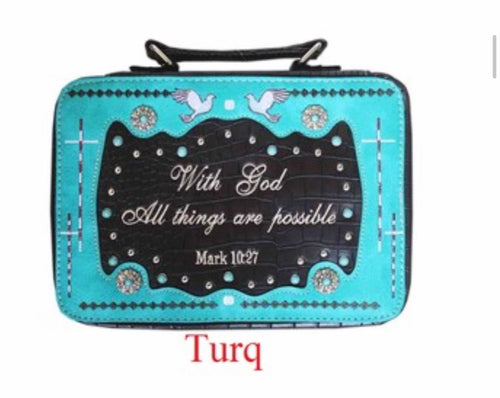 Turquoise bible cover Mark 10:27