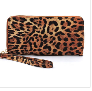 Tan leopard wallet with wristlet strap